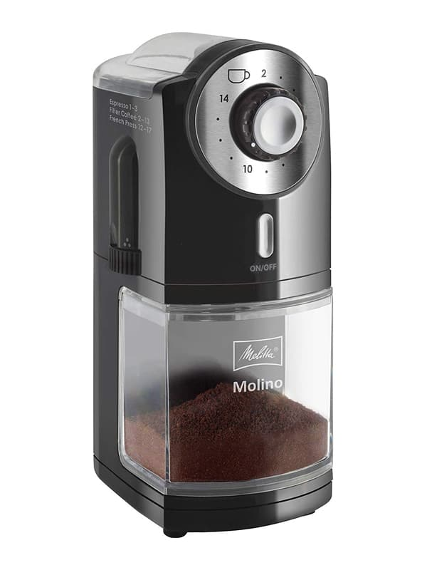 Melitta 1019-02 Molino - Molinillo de café eléctrico, Disco plano, Negro -
